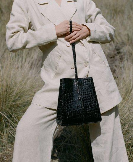 LOQ Miró Pequeño bag - Black Patent Croc