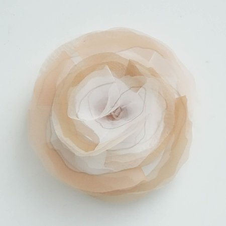 Peserico Tonal Floral Brooch - Warm Taupe