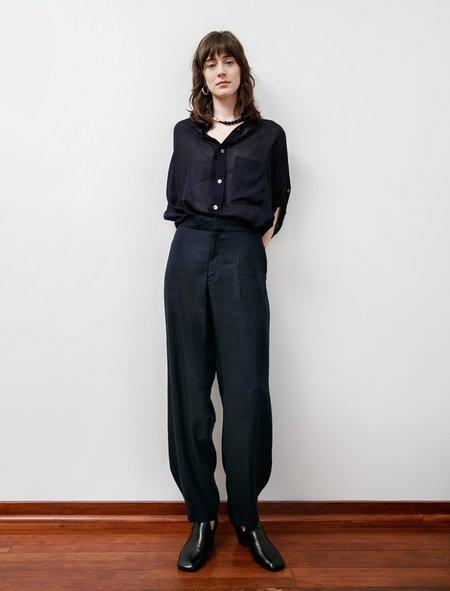 Ys by Yohji Yamamoto Rounded Hem Linen Trousers - Navy