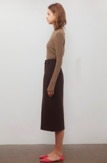 AMONG Wool Tuck Skirt - Brown