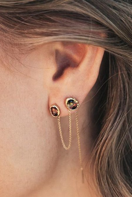 Fie Isolde Alfa Threader long Earring Long - 14k yellow gold/watermelon tourmaline