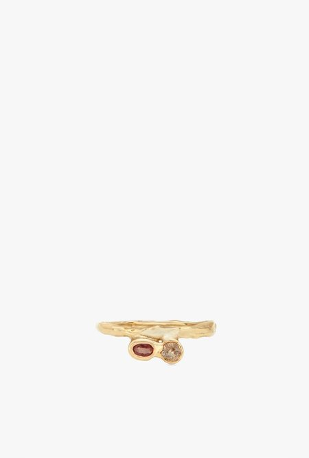 Fie Isolde Odette Line Ring with Precious Stones