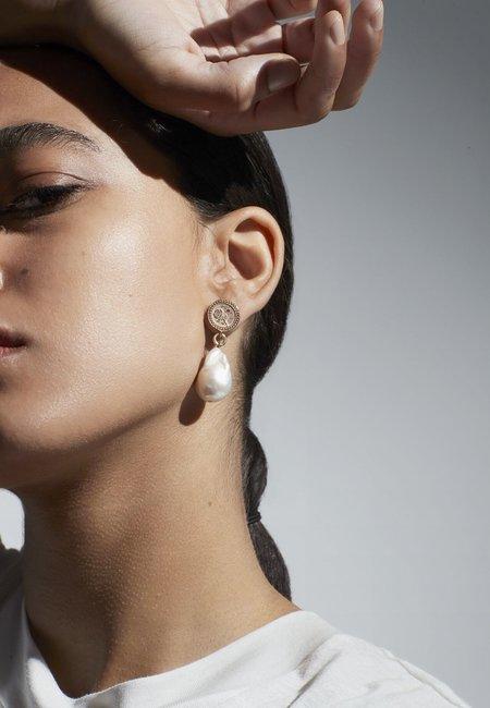 Meadowlark Amulet Pearl Love & Peace Drop Earrings - Silver