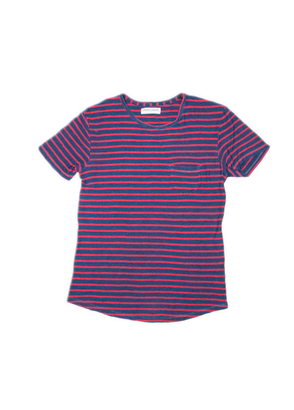 The West is Dead - Men's Pocket Tee in Red and Indigo Stripe