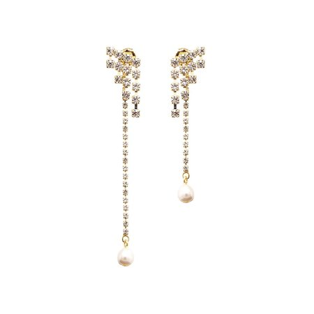 Joomi Lim 2-part Asymmetrical Crystal Earrings with Pearl Drops - Gold