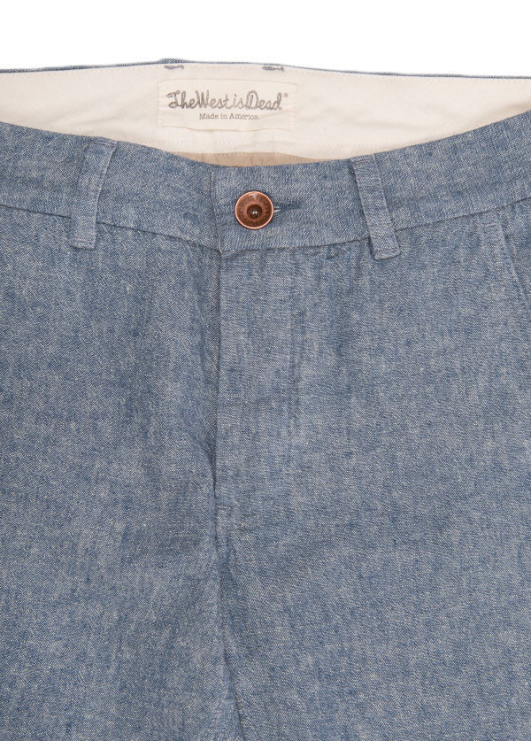 The West is Dead - Men's Slim Chino Pant in Blue Chambray