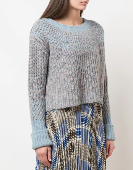 Raquel Allegra Two Tone Speckled Sweater - Blue