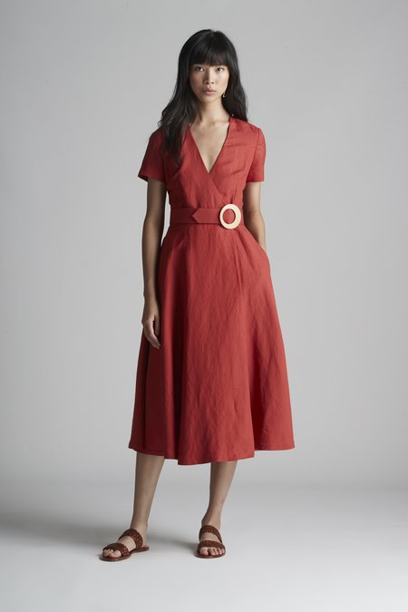 Christine Alcalay Linen Wrap Dress With Cap Sleeves