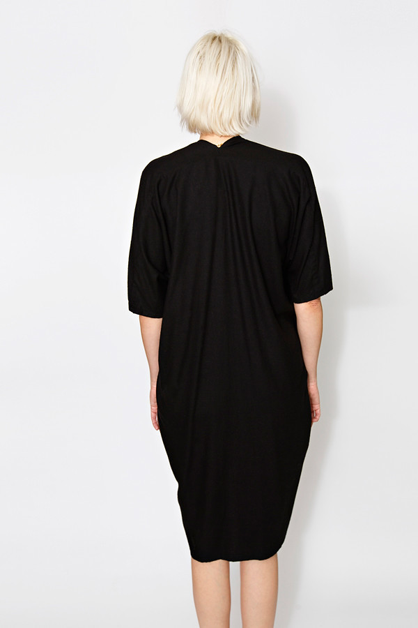 Miranda Bennett Muse Dress, Oversized, Silk Noil in Black