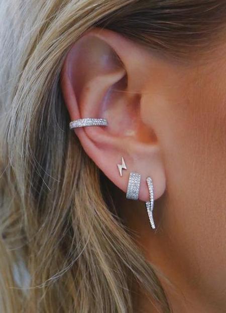 EF Collection Diamond Hook Earring