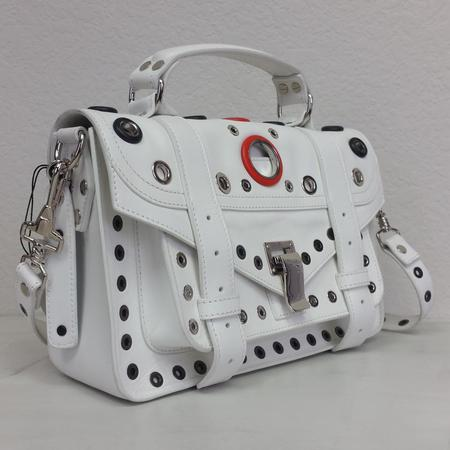 Proenza Schouler PS1 Tiny Variegated Grommet Leather Satchel - Optic White