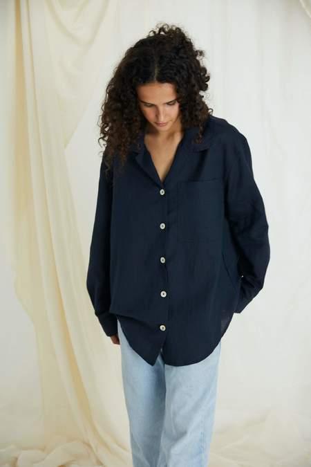 Everyone Shirt, Navy Organic Cotton Linen