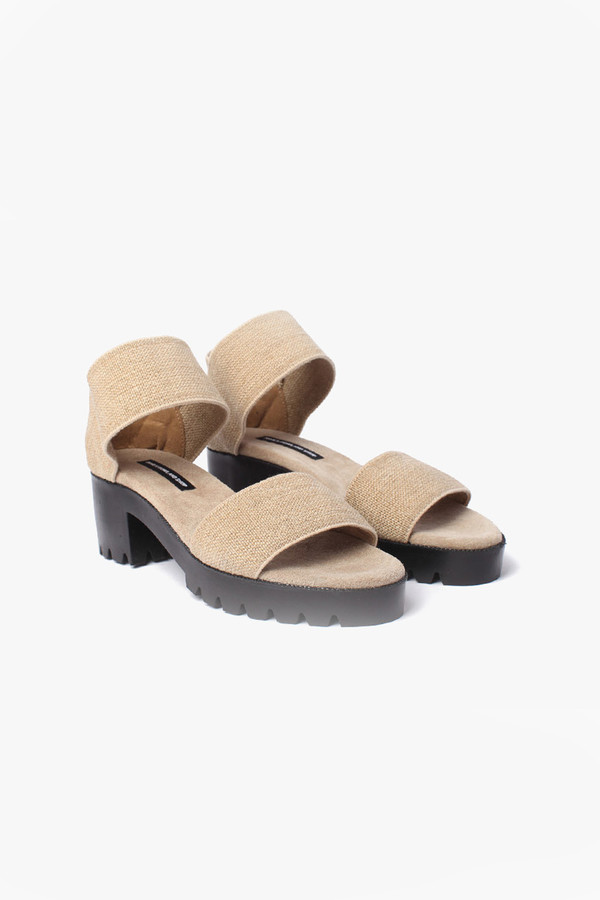 James Rowland Shop Elastic and Leather Dual Strap Sandal - Linen