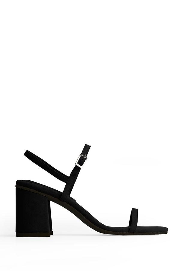 Rafa Vegan Suede Simple Sandal - Black