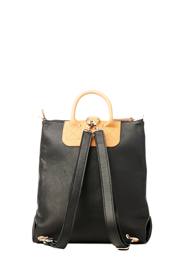 Graf & Lantz Bedford Convertible Backpack Black and Tan Leather