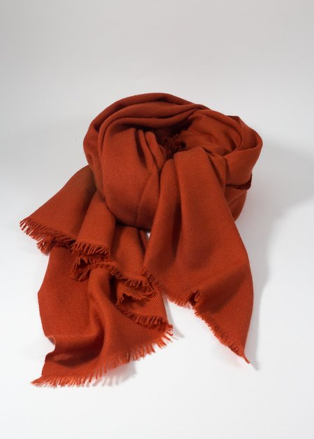 IRIS DELRUBY plain twill cashmere scarf - orange