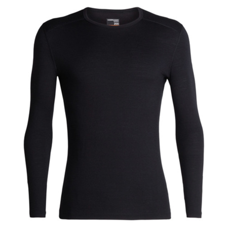 Icebreaker 200 Oasis Long Sleeve Crew T-Shirt - Black