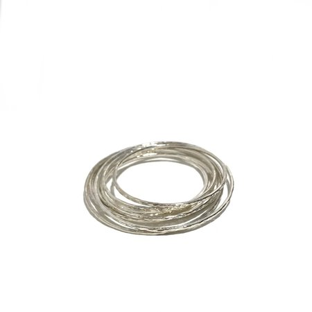 Mikel Grant Hammered Bangle - Silver