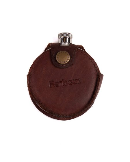 Barbour Round Hip Flask - Brown