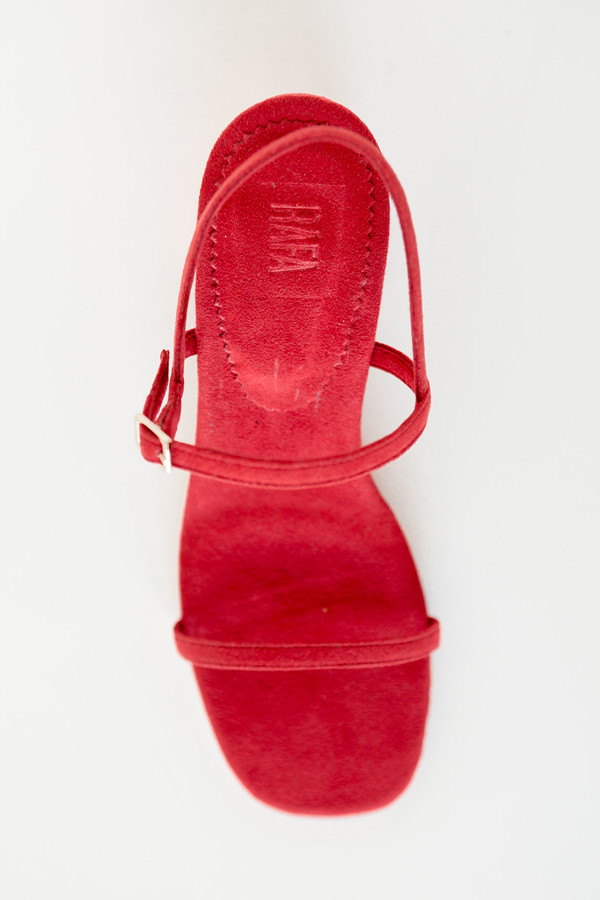 Rafa Vegan Suede Simple Sandal - Red