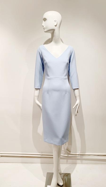 Safiyaa crepe v neck midi sheath dress