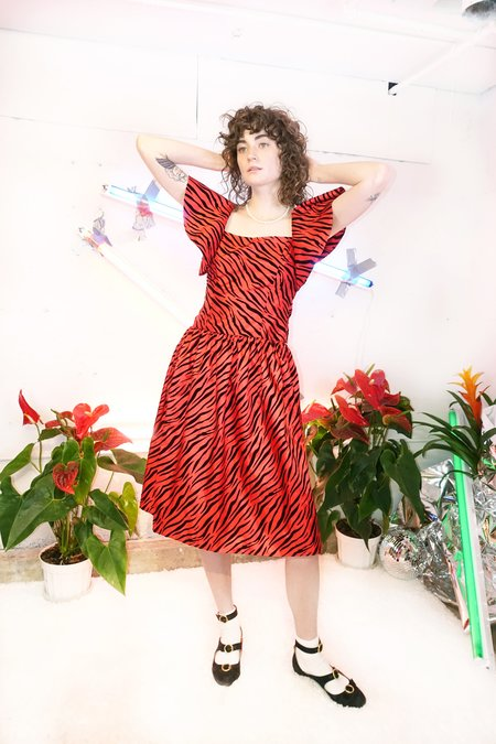 BATSHEVA Bow Dress - Red Zebra Taffeta