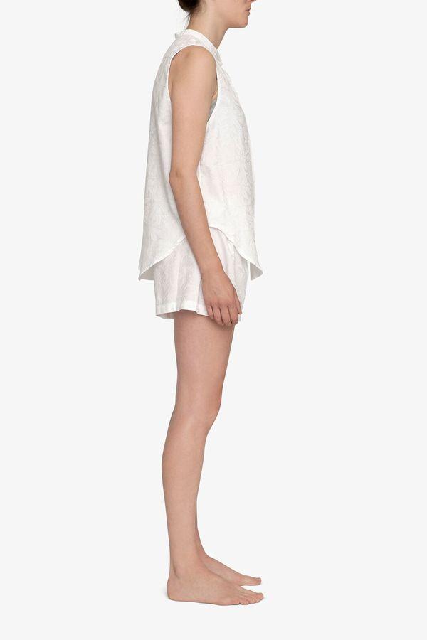 The Sleep Shirt Pleat Short White Palm Damask