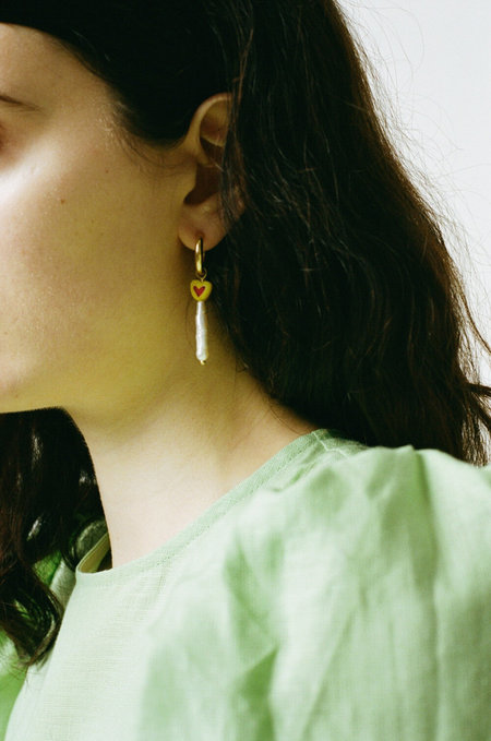 Sandralexandra Jewellery Cha Cha Cha Heart Earrings - Butter Yellow