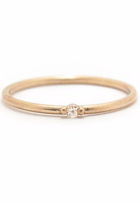 Valley Rose Etoile White Sapphire Ring - 14K fair mined gold