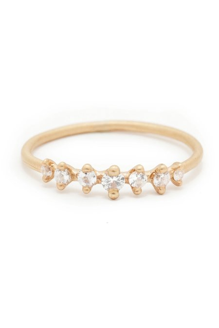Valley Rose Mini Meissa White Sapphire Ring - Yellow Gold