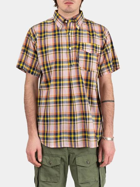 Engineered Garments Popover Button Down Shirt - Pink / Yellow