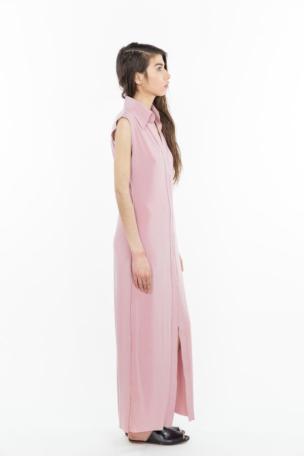 Norma Kamali Sleeveless Long NK Shirt - Pink