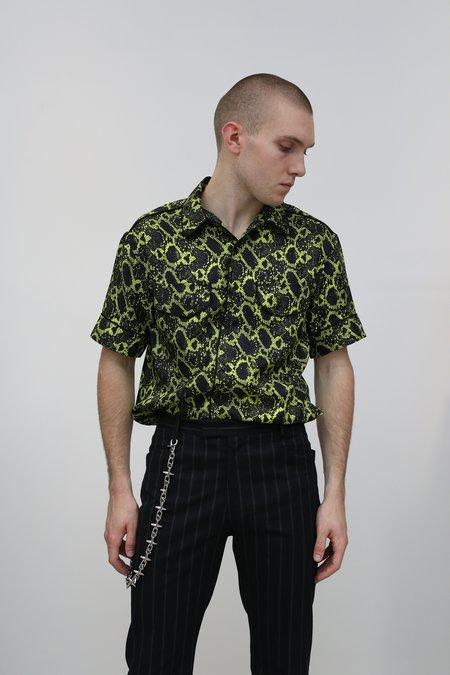 Nomenklatura Studio Silk Printed Snakeskin Shirt - Acid