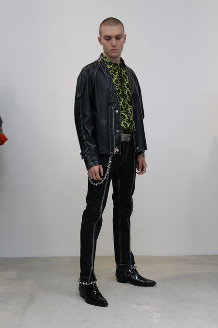 Nomenklatura Studio Lamb Leather V-Neck Blouson - Black