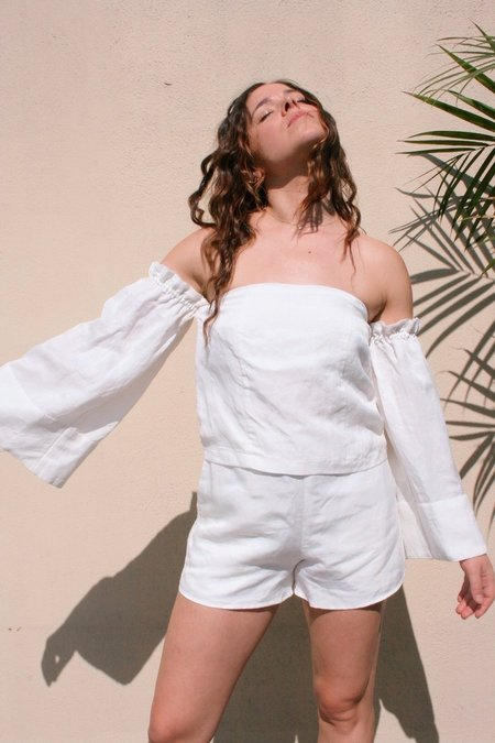 SIR the Label Bell Sleeve Top - Pearl White