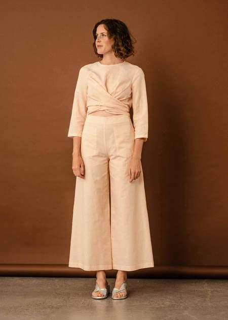 Penny Sage Flaneur trouser - peach stripe