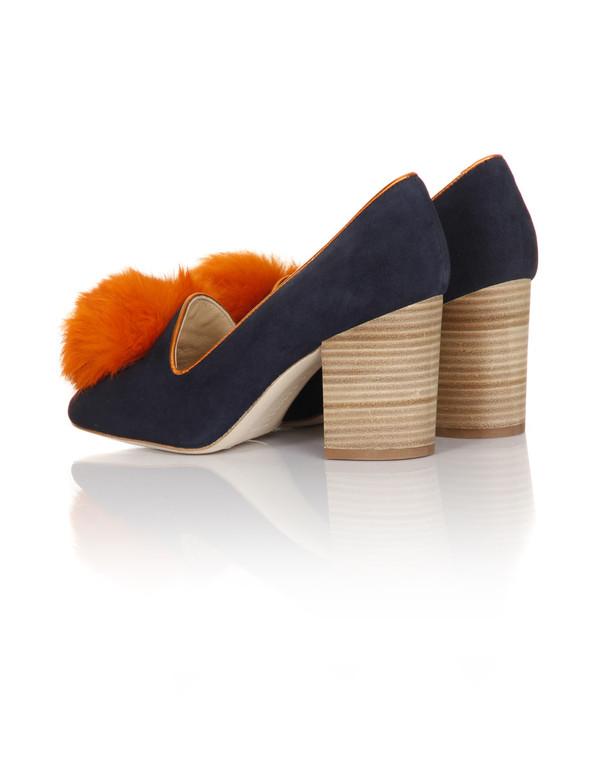 Minna Parikka - Alice Navy & Orange Suede Pump