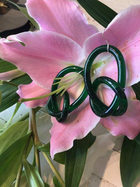 Corey Moranis Knotted Loop Earrings - Green