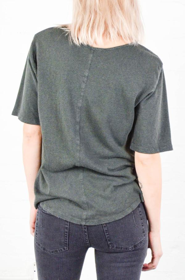 Black Crane Charcoal Back Seam Short Sleeve Tee