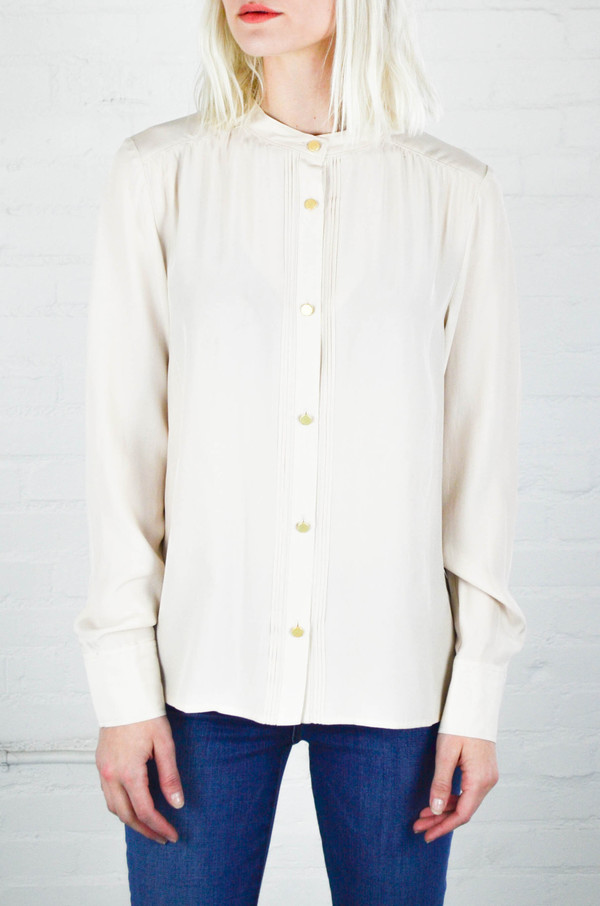 FRAME Denim Frame Le Pleated Blouse in Nude