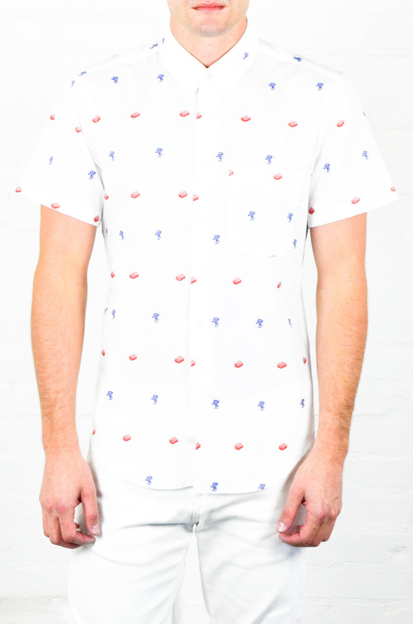 Men's Naked and Famous Blocks and Robots Jacquard Regular Short Sleeve Shirt