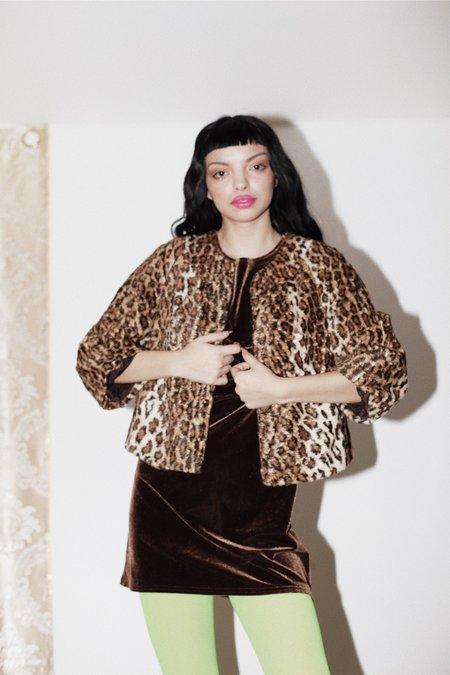[PRE-LOVED] Faux Leopard Fur Jacket