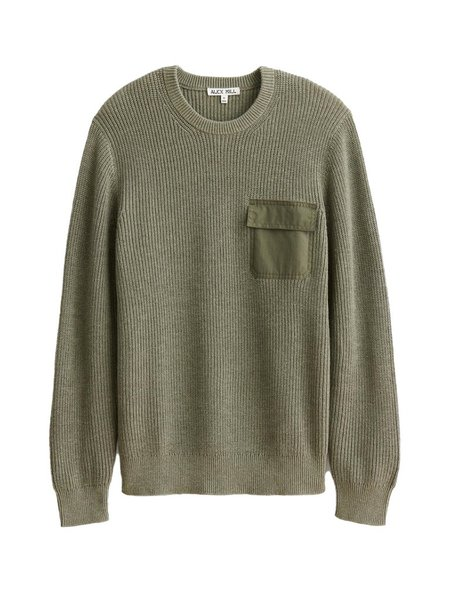 Alex Mill Woven Pocket Sweater - Olive
