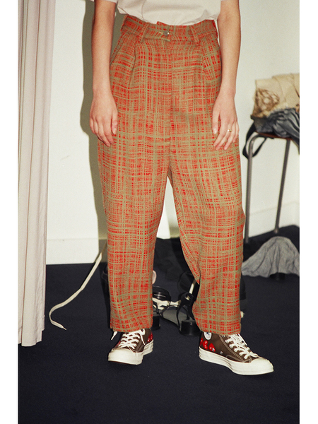 Unisex Anntian Wide Pant - Red/Green Weave