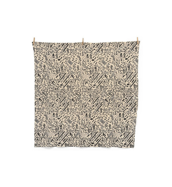 Jenny Pennywood Charcoal Dashes & Moon Throw Blanket