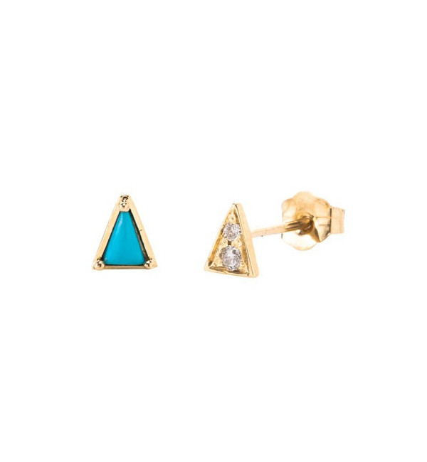 Mociun Turquoise Mismatched Triangle & Diamond Earrings