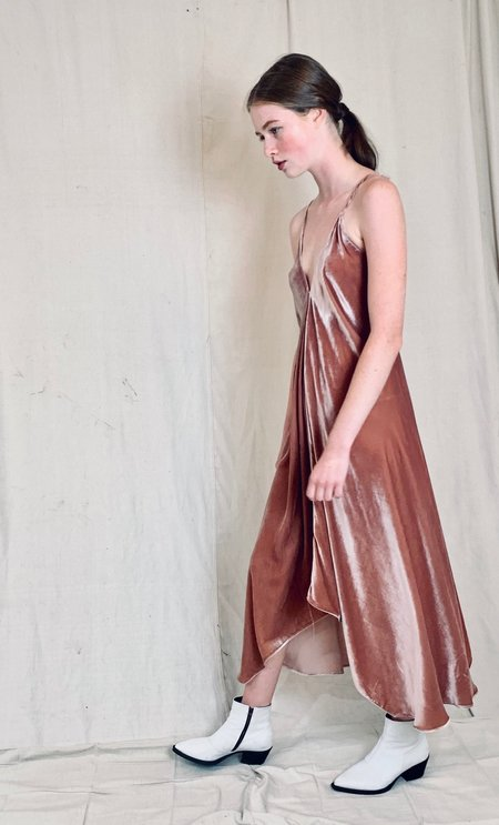Anderst Isabel Velvet Halter Dress - Blush