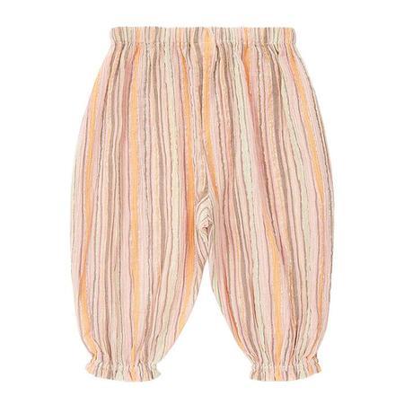 kids Bonton Baby Gaufre Pants - Pink/Brown Stripes