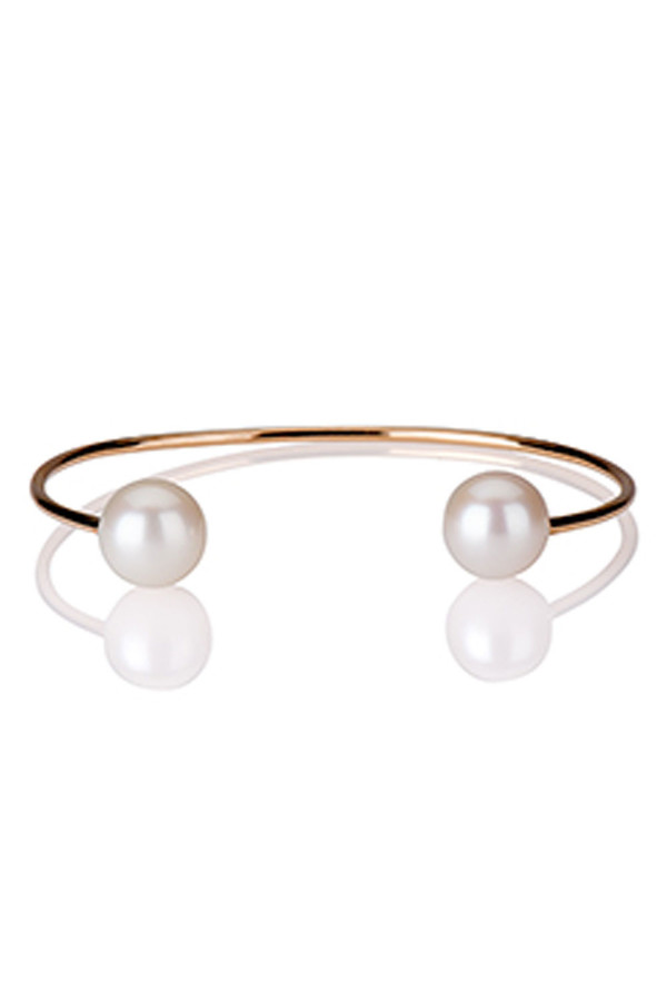 Letters By Zoe - Gold Double Pearl Cuff Bangle Bracelet