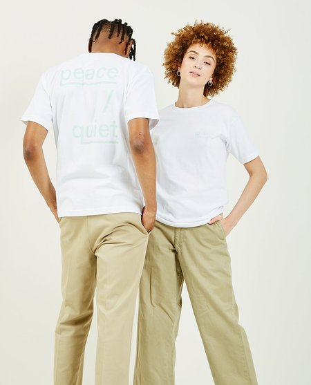 Unisex PEACE & QUIET Self Care Support Group Tee - White